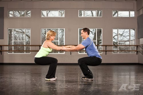Assisted squat exercise